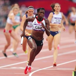 Christine Ohuruogu, centre, ran the final leg of the race for GB