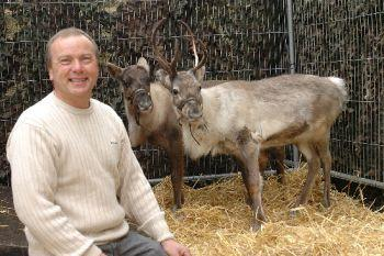 Sparky Bloodworth with the reindeers