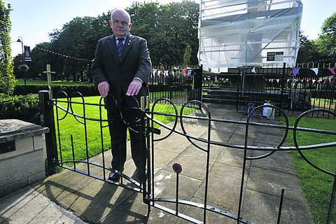 Major Peter Williams of Trowbridge Royal British Legion at the vandalised gates