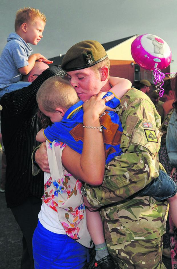 Tears and hugs as the troops returned home yesterday evening