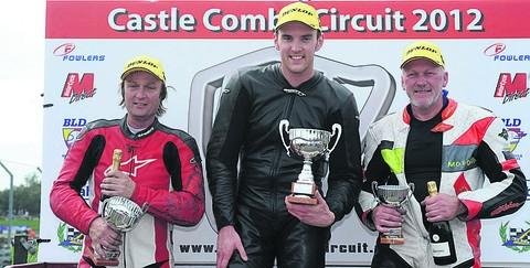 TOP THREE: In the championship 250 race at Castle Combe are (l-r): Darrell Higgins (second), Daniel Jackson (winner) and third placed Roy Keen