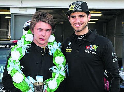 Owen Hunter with Ebay BMW Touring Car driver Tom Onslowe-Cole at Donington Park after winning the 2012 Saxmax Championship