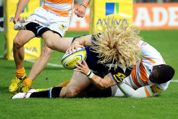 Wasps' Christian Wade can't stop Bath's Tom Biggs from scoring during yesterday's clash at the Rec