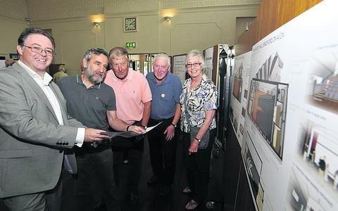 Architect Kevin Murphy, left, with hall users Phil Courage of The Bradfordians, John Holmes of the Film Society, Bruce Hersee of Bradford on Avon Lions and Gill Winfield of Save the Children
