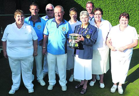 Spencer Moulton's triumphant mixed double rinks team, with Ann Hindley (Bowls Wiltshire chairperson)