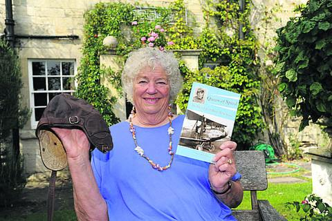 Author Nancy Wilson with her book outside Priory Steps