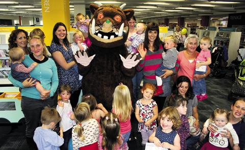 Mums and their pre-school youngsters meet up with the Gruffalo at the new Trowbridge Library