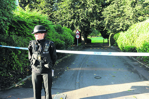 A police cordon at the scene today