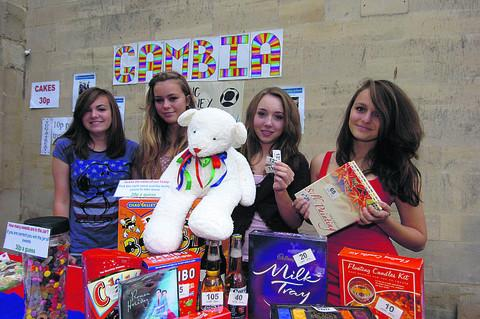 St Laurence students Elena, Abi, Sophie and Mattie raising funds for the Gambia project at last year's Street Party: the school is linked with Jambanjelly basic school and supports pupils there