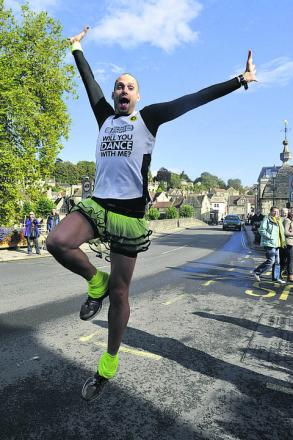 Ben Hammond dances through Bradford on Avon on Wednesday, just hours before being struck by a car