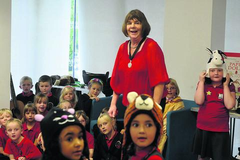 Fun at Trowbridge Library with Children's Laureate Julia Donaldson and pupils from Bellefield Primary School