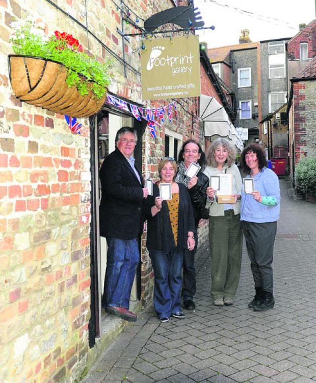 From left, John Leighton, Lynn Cooke, Dave Hollis, Jennie Gilling and Becky Churchill, outside the Footprint Gallery to launch Face Mail