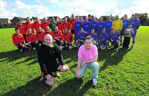 Chris Penelhum, left, with his team and Robbie Newton, right, with the TP All Stars at Lambrok fields