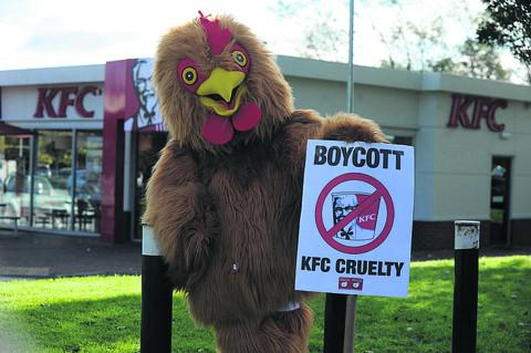 Olly Tyler during his protest outside KFC in Trowbridge on Saturday afternoon