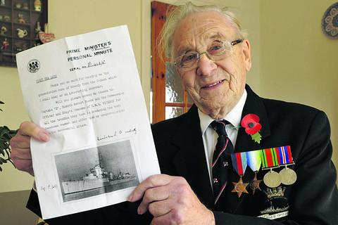 Ken Foster with a copy of his letter from Winston Churchill