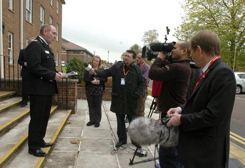 Police chief Pat Geenty speaks to reporters this morning
