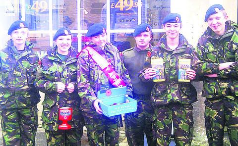 Cadets Will McKenna, Eve Watson, Lilly Cox, Rob Llopis-McCormack, Tom Park and Sam Batey braving the November cold for the Poppy appeal