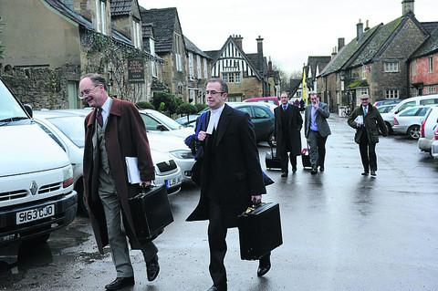 Geoffrey Fox and his legal team arrive at the hearing