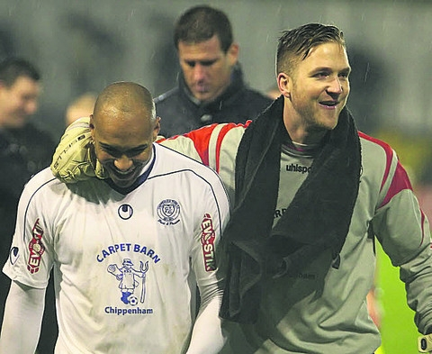 Chippenham Town keeper Ben John (right) with Ashley Williams