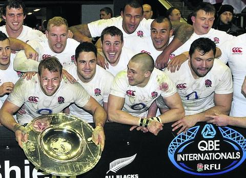 Wiltshire Times: Davy Wilson (top right) celebrates with England after their win over New Zealand last weekend