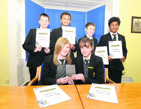 Clarendon College's winning team for the Faraday Challenge: Georgina, Kayna, Oliver, Justin, Tyler and Cullum