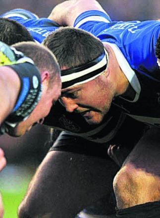 Dunn (centre) pictured in scrummaging action during his Bath debut on Saturday