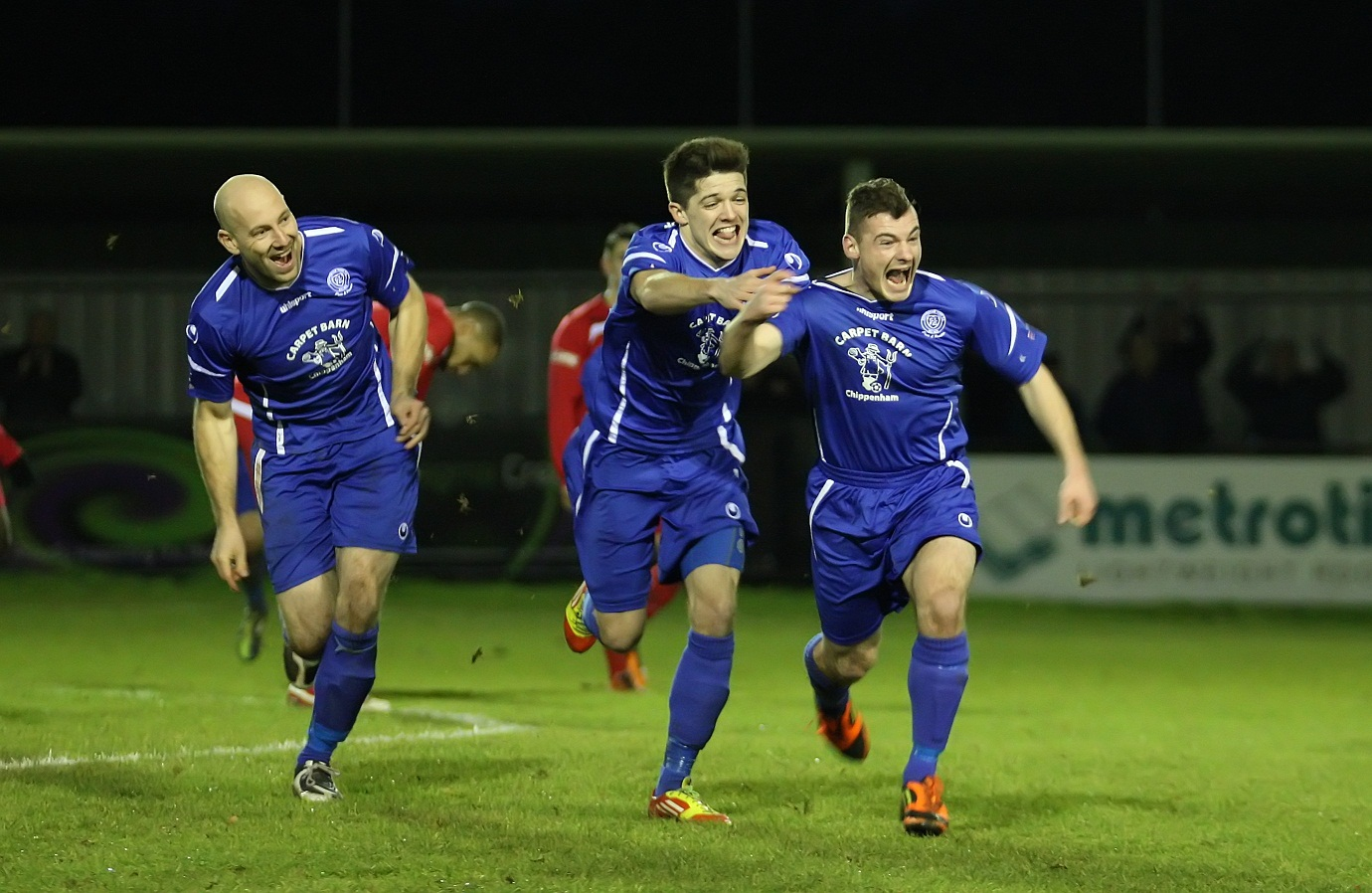 Luke Ballinger (right) celebrates his stunning strike (Picture by Robin Foster)