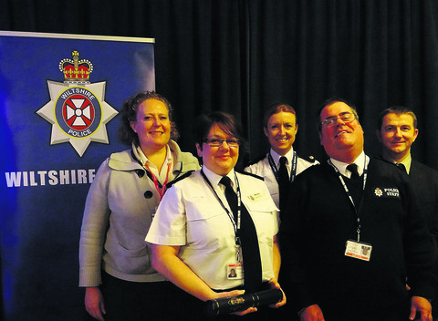 Pictured at the awards are Lucy Norbury, from Pluss, with Samantha Milnes, Supt Charlie Armstrong, Robert Stevens and John Flynn