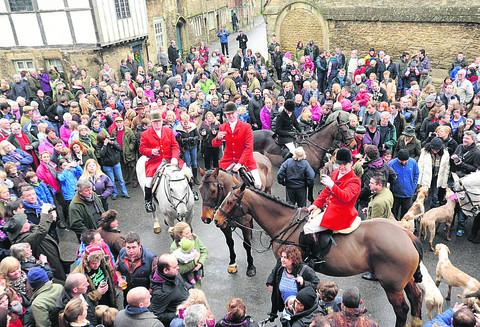 Wiltshire Times: The Avon and Vale Hunt, led by new master Stuart Radbourne, in Lacock for the traditional Boxing Day meet