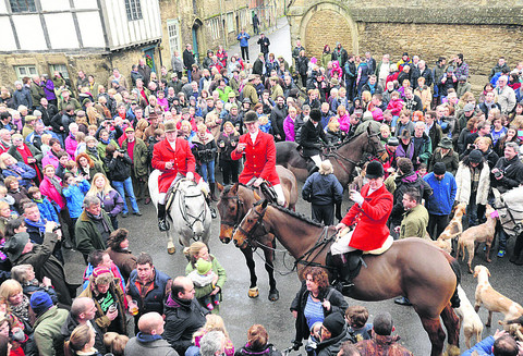 The Avon and Vale Hunt, led by new master Stuart Radbourne, in Lacock for the traditional Boxing Day meet