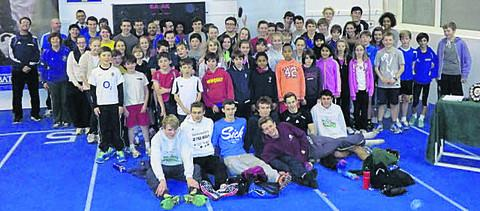 Team Bath AC junior members and coaches at the club's awards presentation night at the University of Bath's indoor track