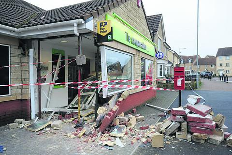 Wiltshire Times: The damaged store after the attempted ram raid on the  Katherine Park estate