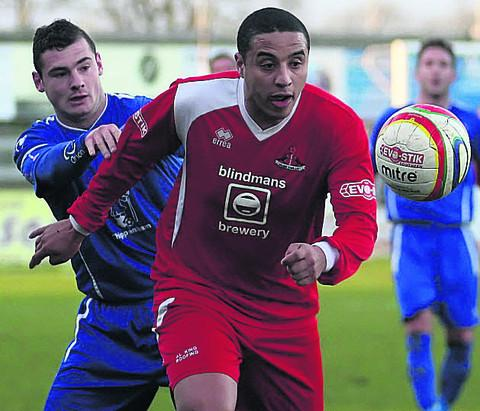 Aaron Ledgister, pictured playing against Chippenham Town on New Year's Day