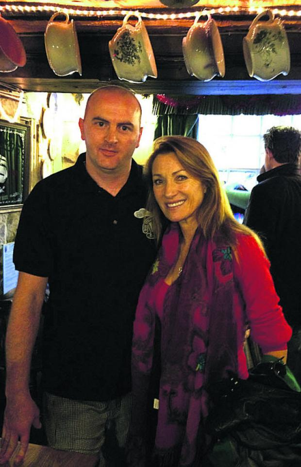 Neven Kasakliev, the pub's third chef, with Jane Seymour