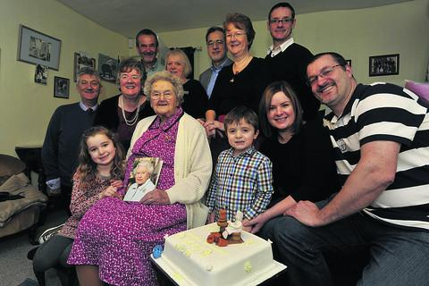 Glee Baron with family members, from left; Bob, Elizabeth, Charles, Olivia and Jenny Baron, Ray and Anne Guthrie, Jack, Kellie, Rob and Richard Baron