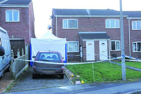 A police forensic tent at the scene in Bowerhill