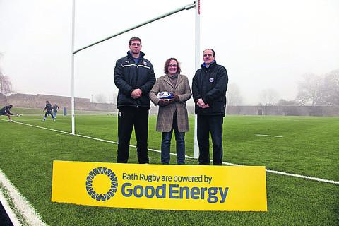 Good Energy CEO Juliet Davenport flanked by Bath Rugby player Dave Attwood and Bath Rugby chief executive Nick Blofeld