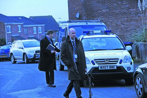 Investigating officer DCI Ian Saunders leaves the Bowerhill estate on Sunday evening