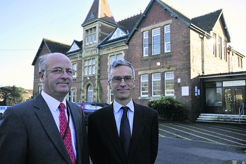 Andrew Murrison with headteacher Andy Packer, left, during his tour of John of Gaunt