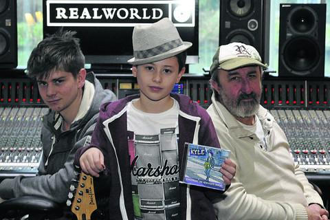 Wiltshire Times: Kyle Condon at Real World Studios with his record producer, Rob Bozas, right, and recording engineer Oli Jacobs