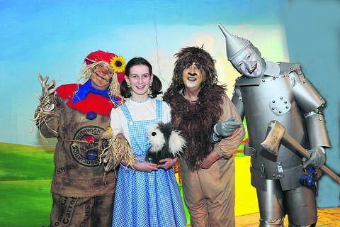 Maddy Jones as Dorothy, with  Helen Wilcox as the Scarecrow, Lion Linda Dowsett and Tin Man Martin Sowerbutt in The Wizard of Oz in Southwick