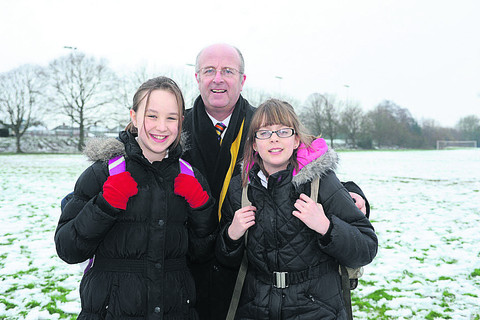 John Of Gaunt School head Andy Packer with pupils Shannon Lagdon and Livvy Vidler