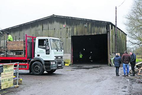 The scaffolding warehouse damaged by a suspected arson attack