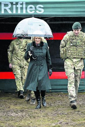 The Duchess of Cornwall meets soldiers from R Company 4th Battalion, The Rifles, at Bulford Camp today