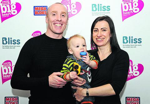 Alex and Rachel Fereday with son Ethan, after battling through snow to the Big Heart awards in London