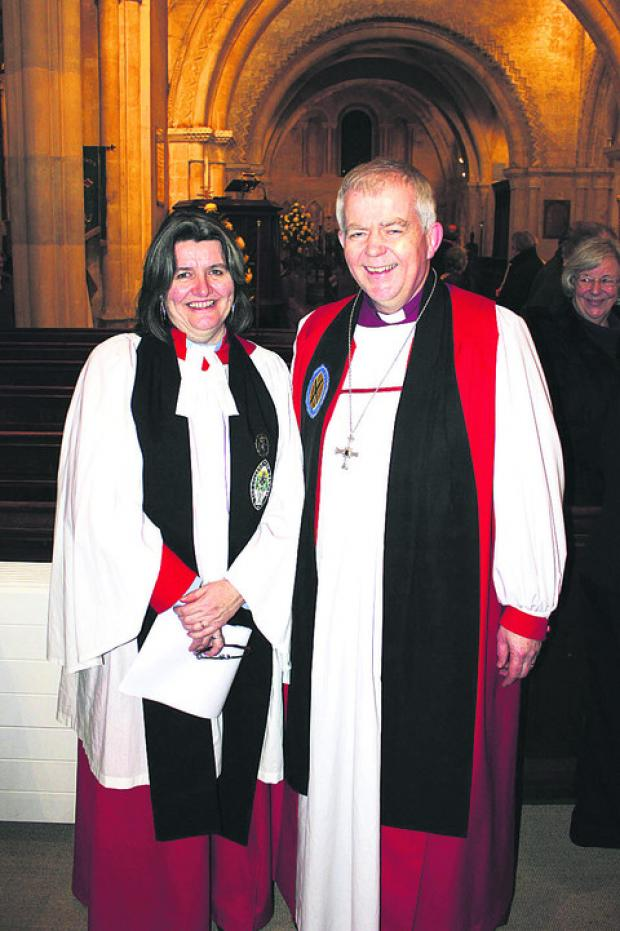 New Archdeacon the Ven Ruth Worsley with the Bishop of Salisbury, the Rt Rev Nicholas Holtam