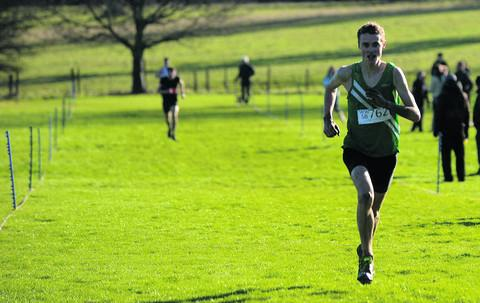 St Laurence School's Alex Carter leaves his rivals trailing as he reaches the finishing line on his way to victory in the senior boys' event at Grittleton House School on Saturday