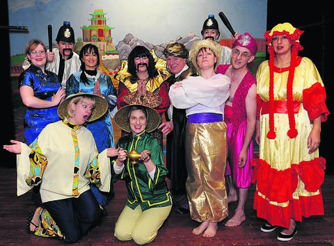 The cast of Aladdin with the Box Pantomime Group
