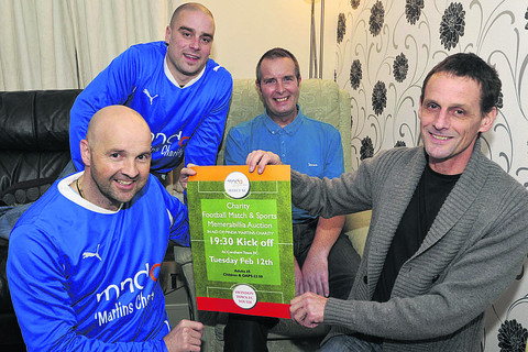 Simon Bray, James Whitehead and Pete Ralph with pal Martin O'Shea (second from right) who has Motor Neurone disease