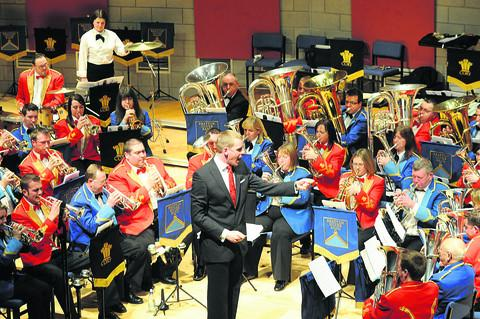Bratton Silver Band and Cory Brass Band performing together at the Wiltshire Music Centre on Sunday